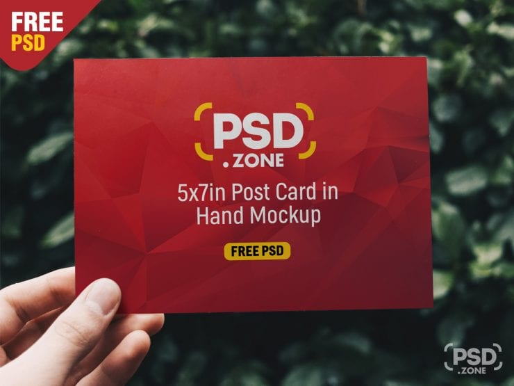 Post Card in Hand Free Mockup