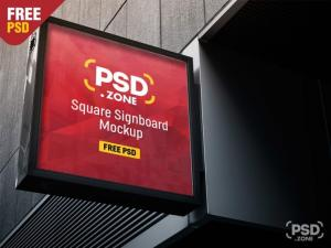 Square Sign Board Free Mockup