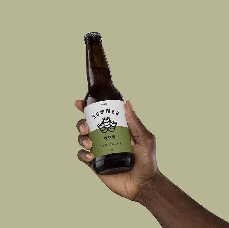 Hand Holding Beer Free Mockup