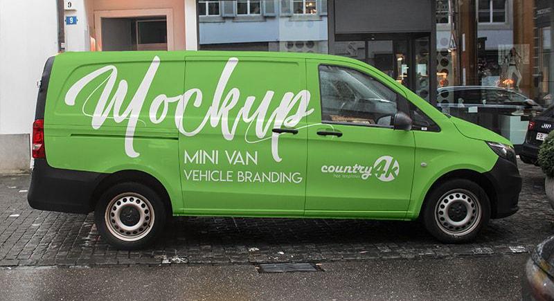 Free Mini Van Vehicle Branding Mockup