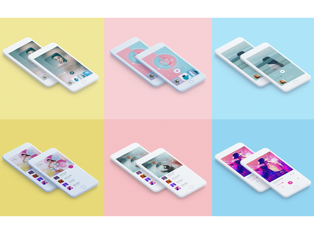 Six Screen of Music Player App Free Sketch Mockup