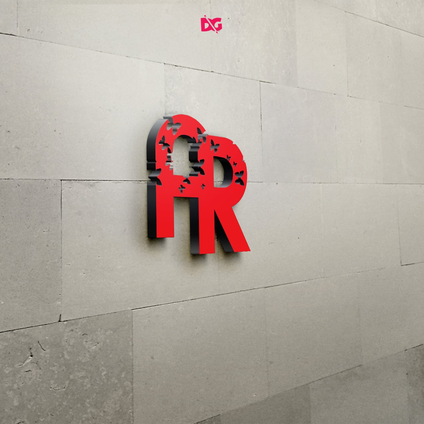 3D Wall Logo Free Mockups