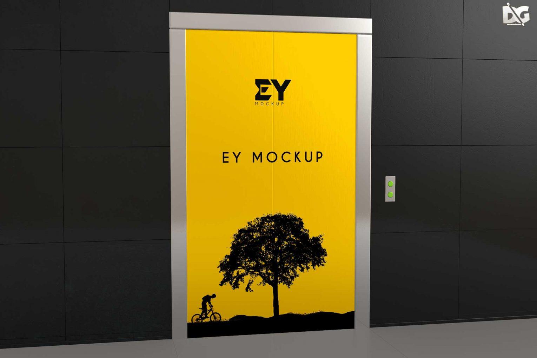 Free Elevator Doors Blank Mockup