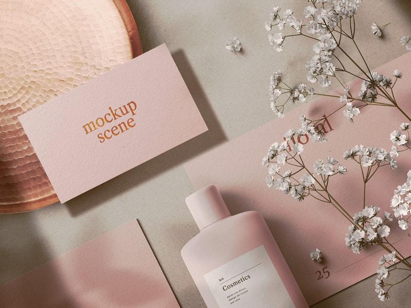 Free Floral Cosmetics Mockup Scene