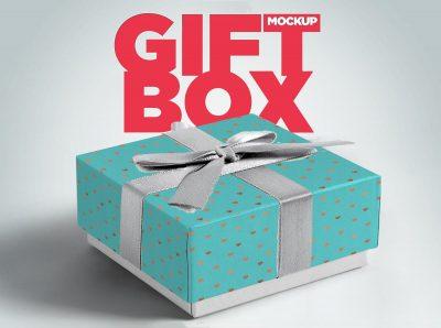 Free Gift Box Packaging Mockup