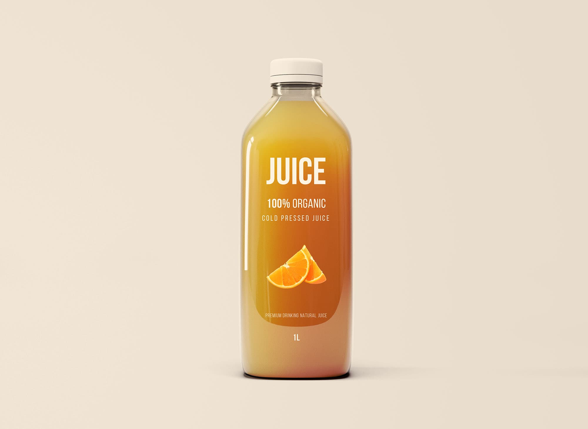 Free Glass Juice Bottle Mockup