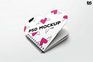 Free Heart Shape Notebook Mockup