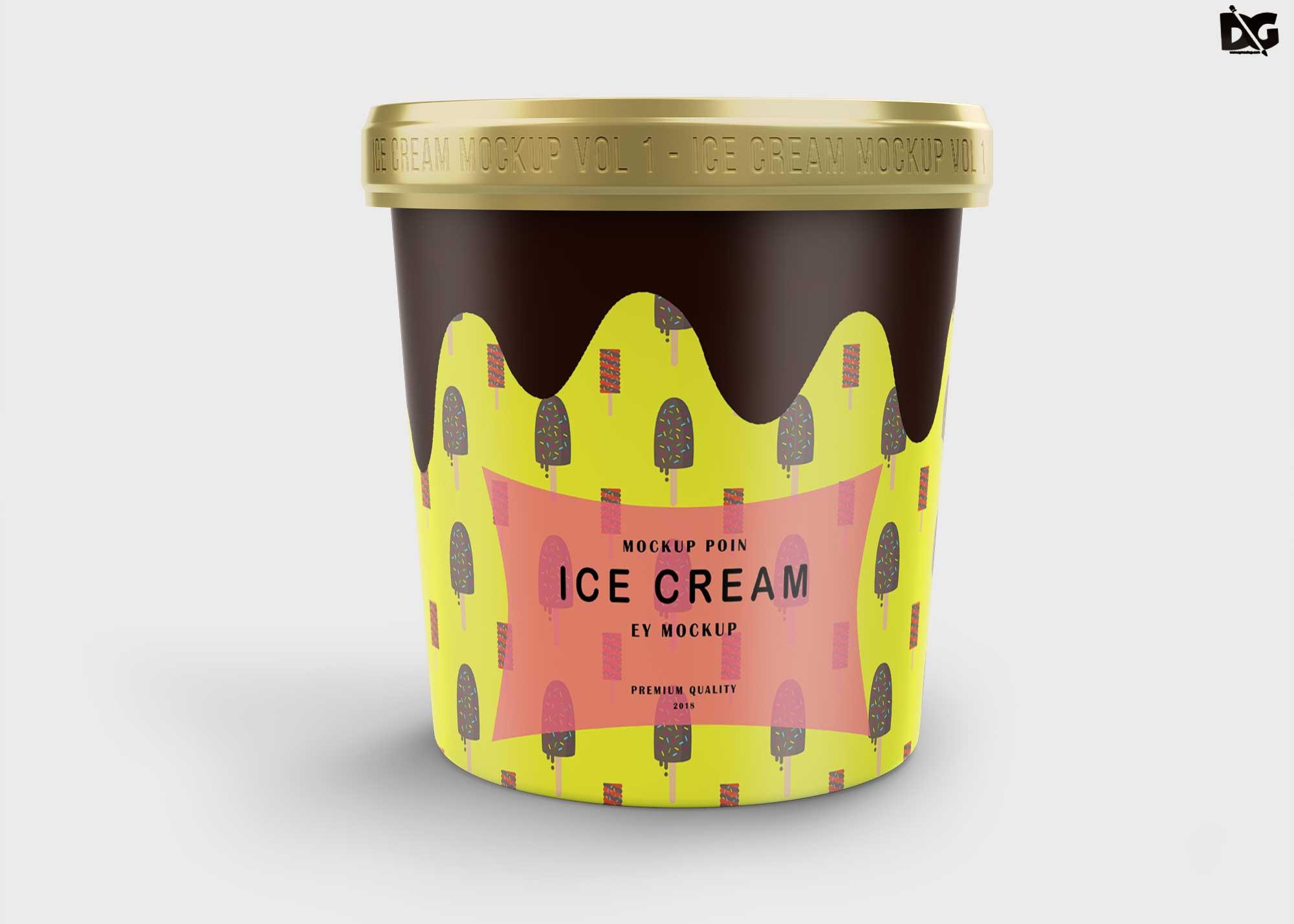 Free Ice Cream Bucket Mockup