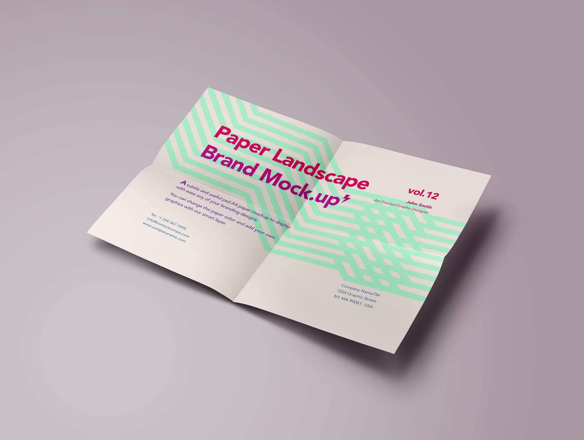 Free Landscape A4 Paper Mockup