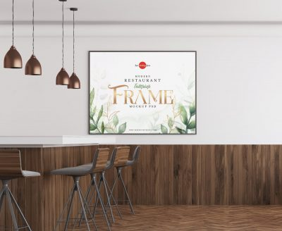 Free Modern Restaurant Interior Photo Frame Mockup