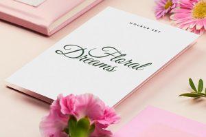 Free Paper Square Floral Card Mockups