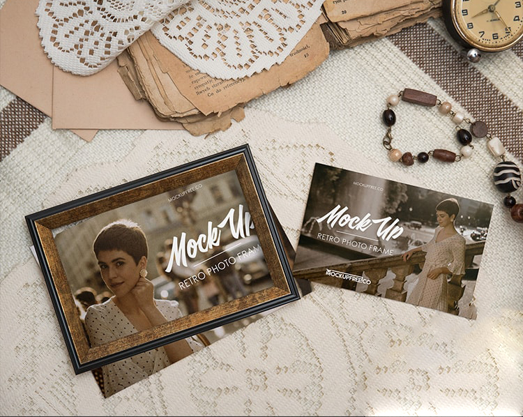 Free Retro Photo Frame Mockup