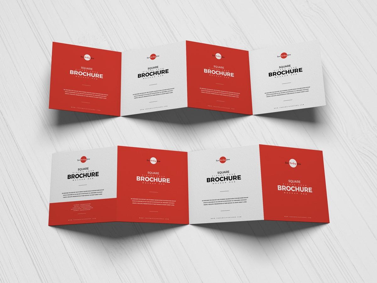 Free Square Zigzag Four Brochure Mockup