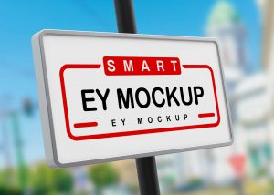 Free Street Board Sign Mockup