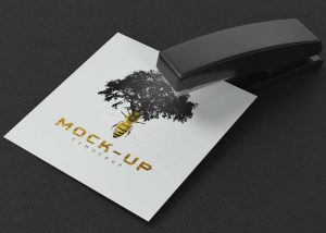 Free Table Item Stapler Paper Logo Mockup