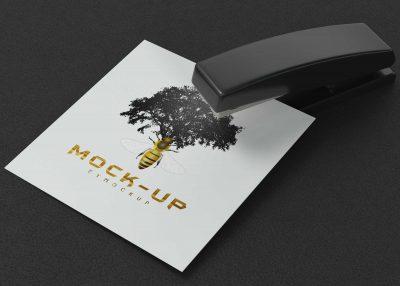 Free Table Item Stapler Paper Logo Mockup