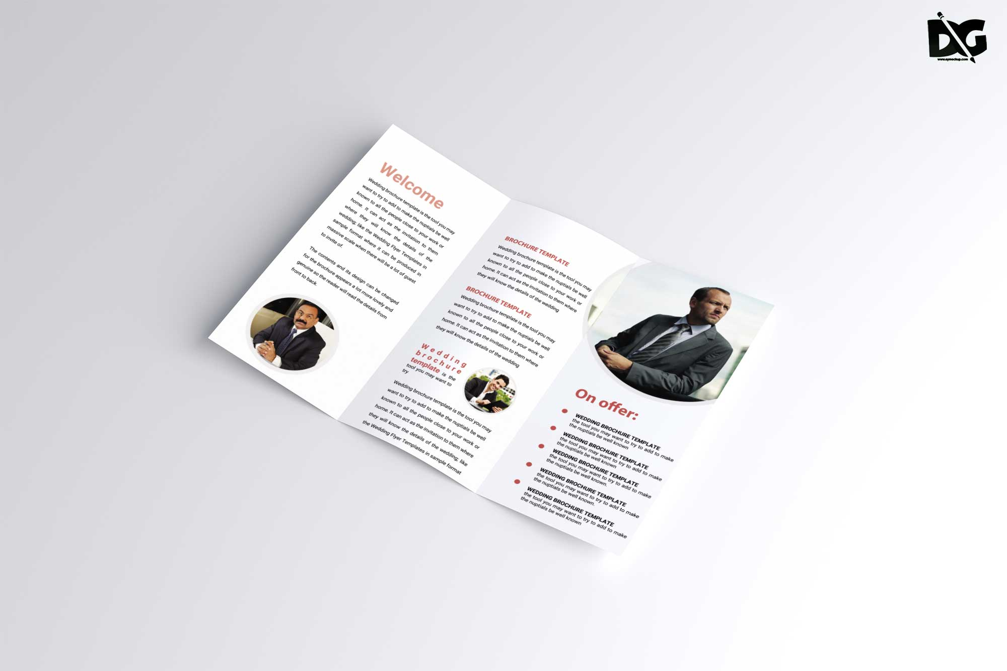Free Vertical Tri-fold Brochure Mockup