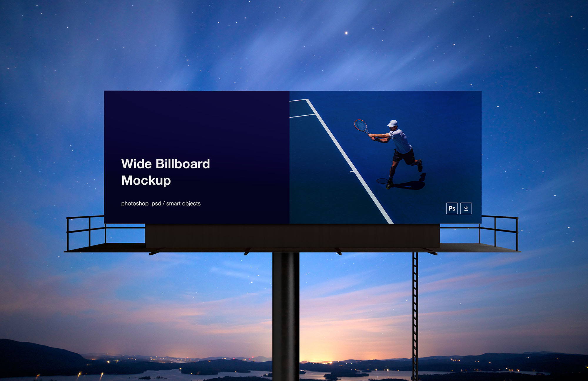 Free Wide Outdoor Billboard Mockup