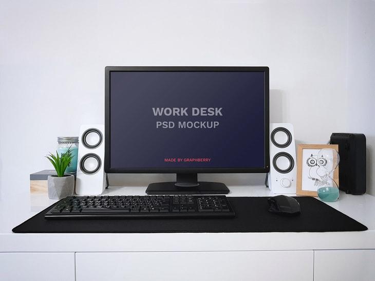 Free Work Desk Mock-up