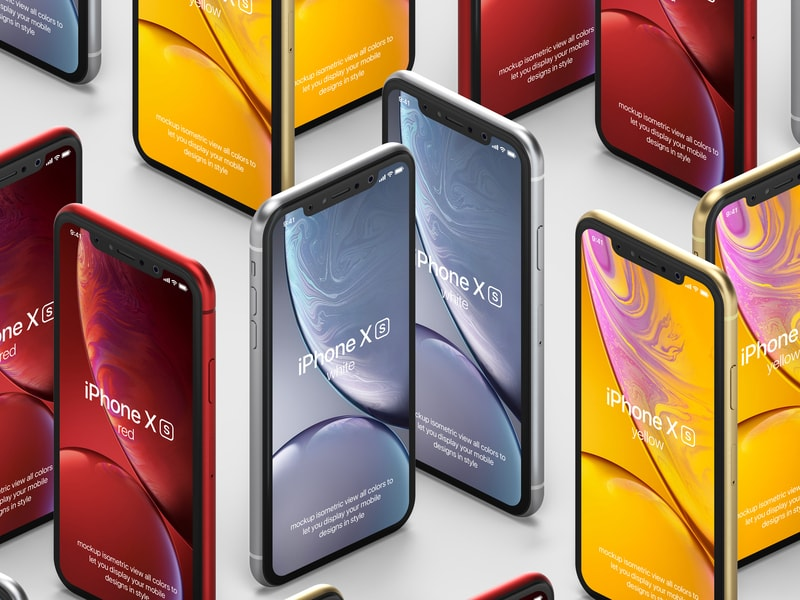 Free iPhone XR Isometric Mock-up