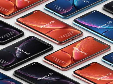 Free iPhone XR Isometric Mockups