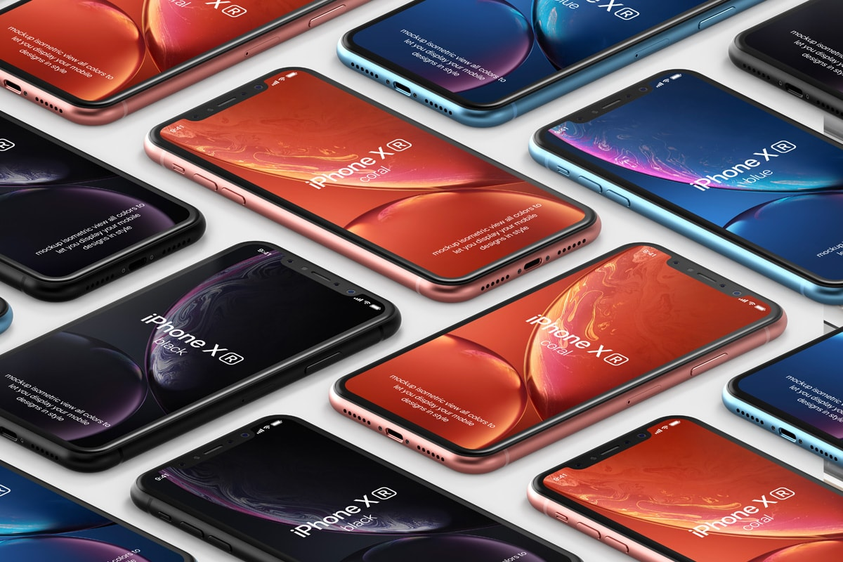 Free iPhone XR Isometric Mockups