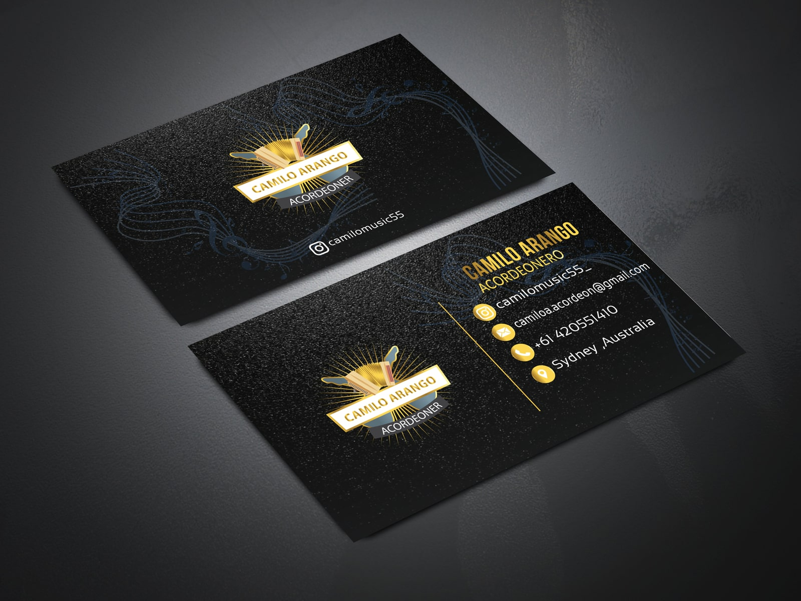 Gold and Black Business Card Free Mockup