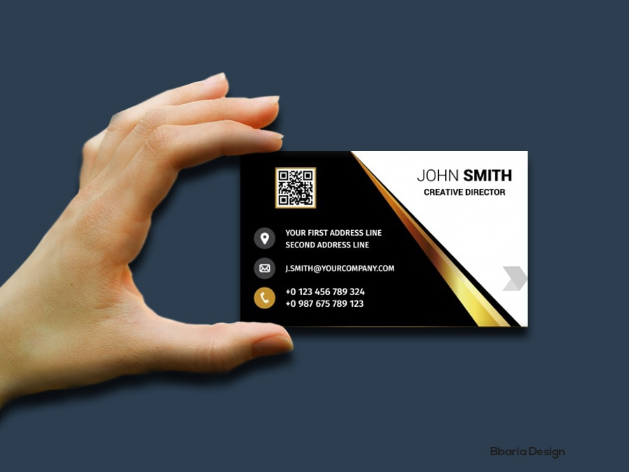 Hand holding Business Card Free Mockup