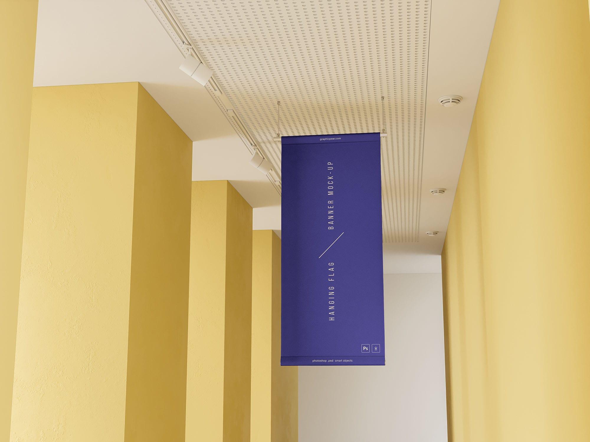 Hanging Flag Banner Free Mockup