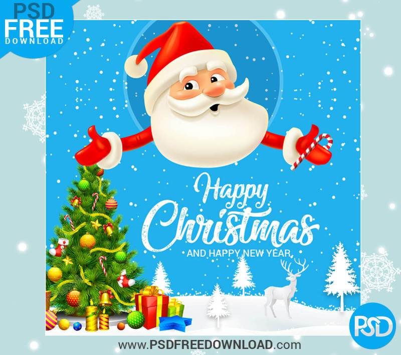 Happy Christmas Greeting Card Free Mockups
