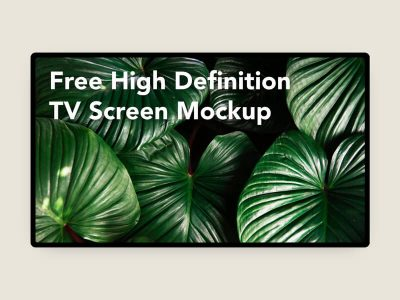High Definition TV Screen Free Mockup