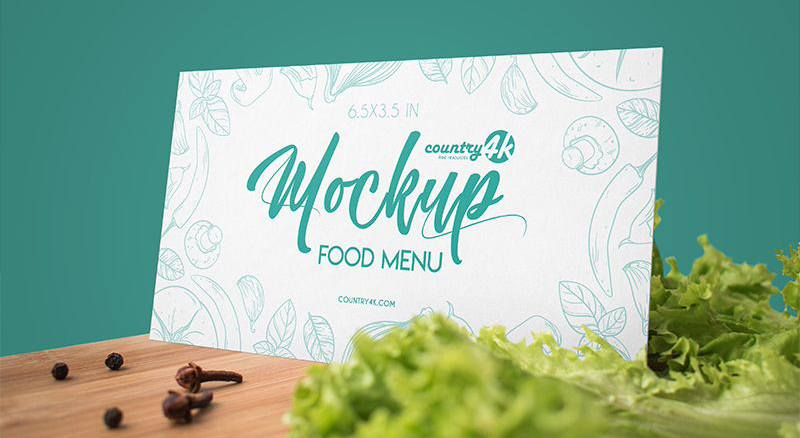 Horizontal Food Menu Free Mockup