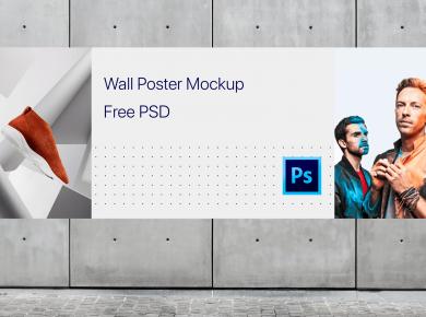 Horizontal Wall Poster Free Mockup