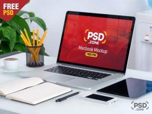 MacBook on Desk Free Mockup