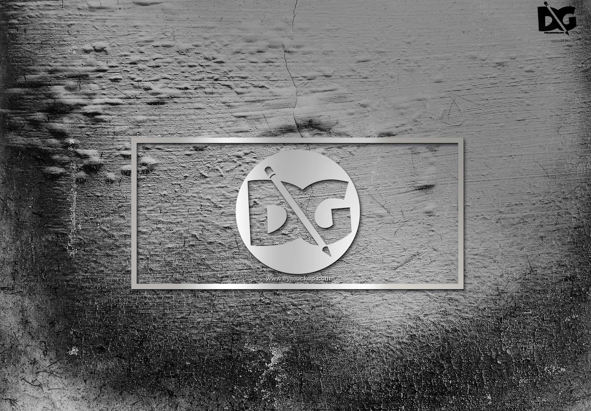 Metal Silver Logo Free Mockup