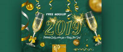 New Year Eve Free Scene Mockup