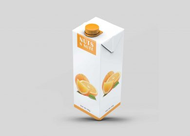 Orange Juice Carton Packaging Free Mockup