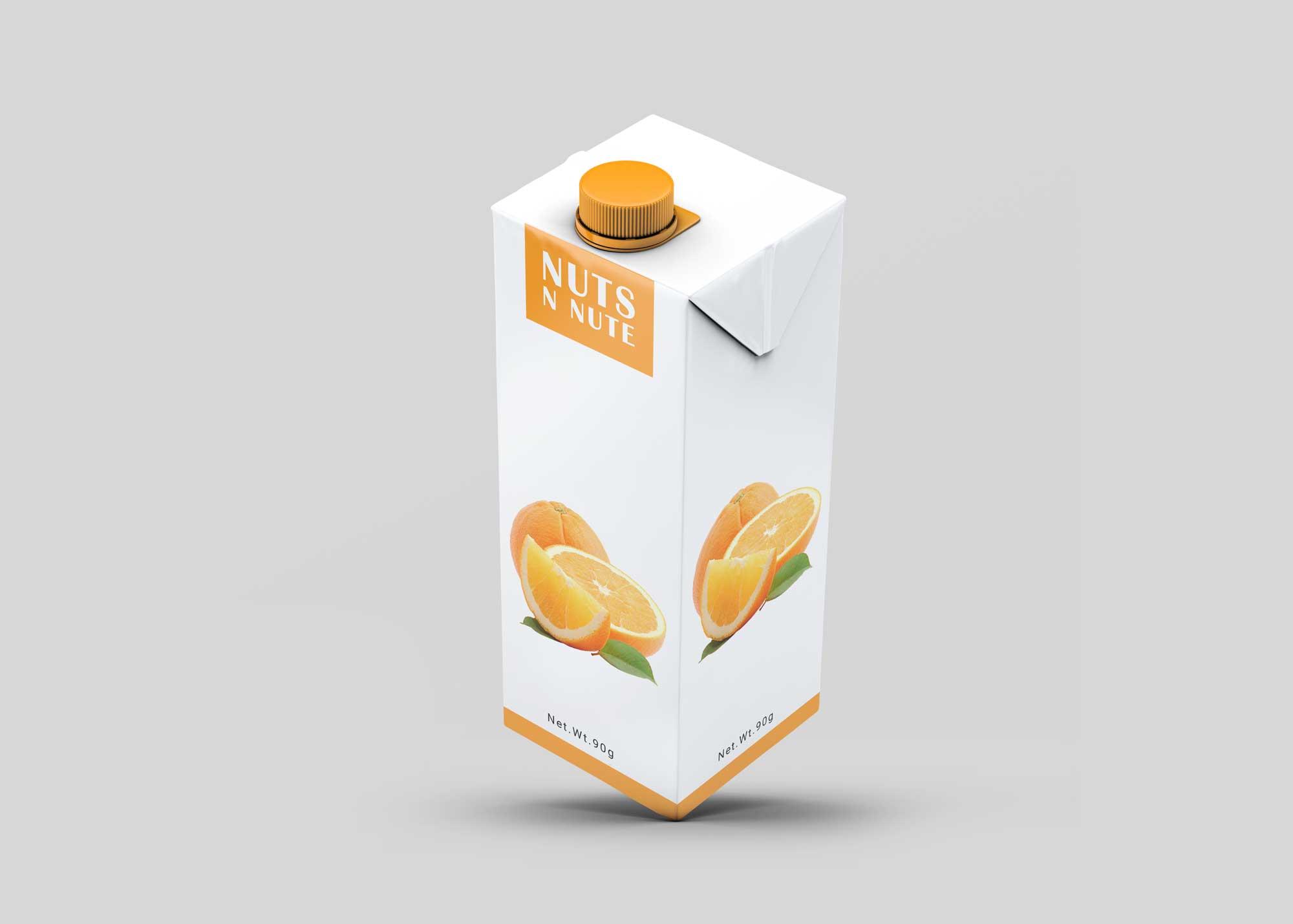 Orange Juice Carton Packaging Free Mockup