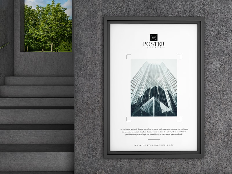 Poster on Interior Concrete Wall Free Mockup