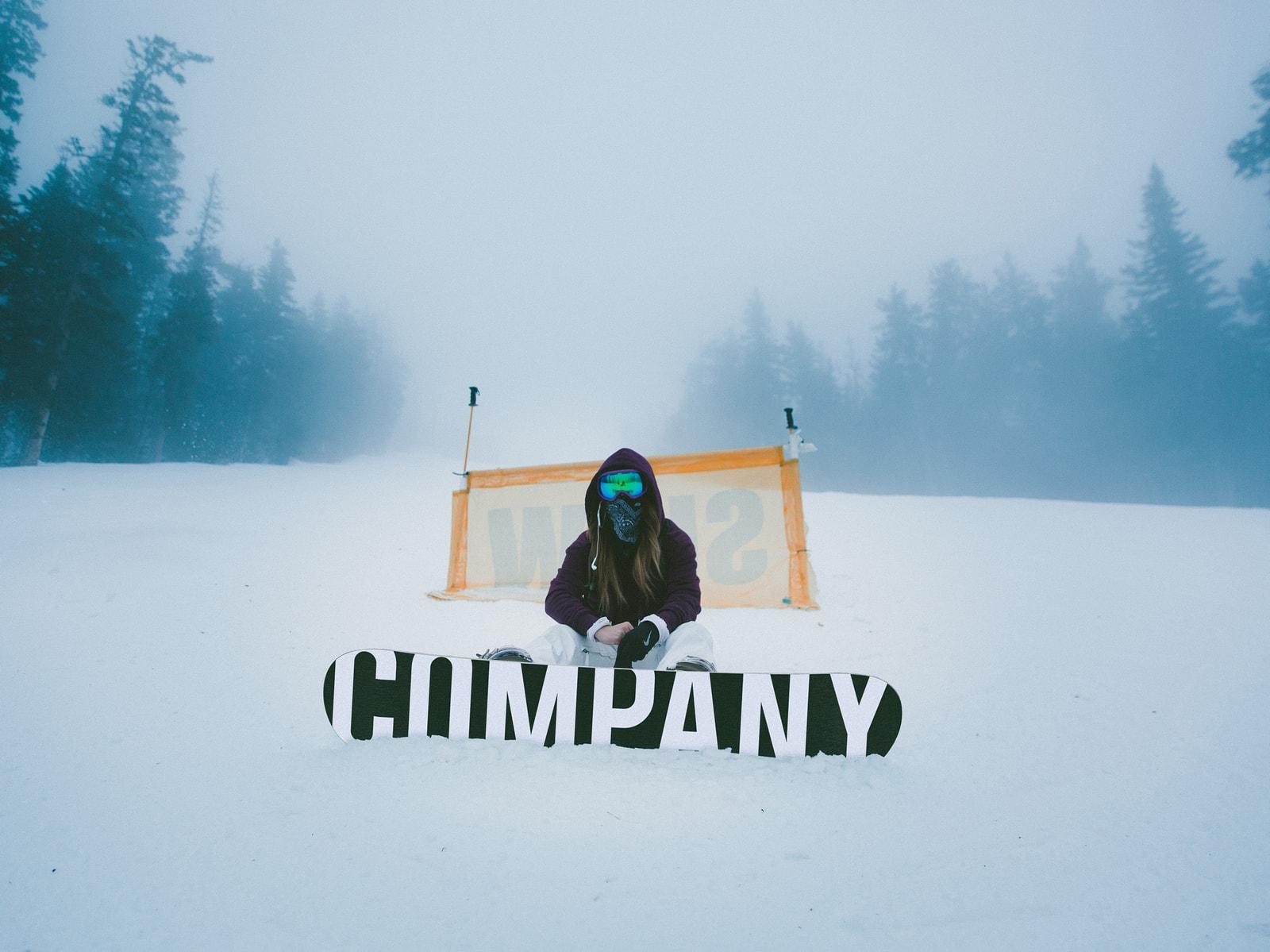 Sitting Snowboarder Free Mockup