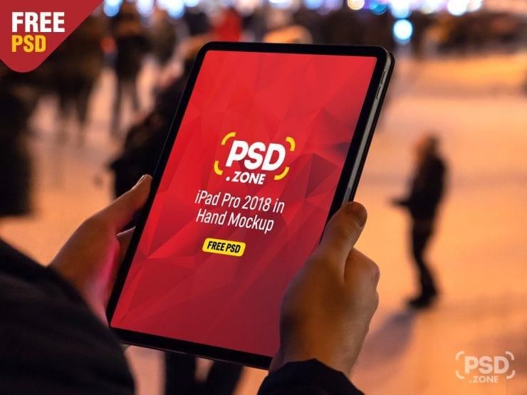 iPad Pro 2018 in Hand Free PSD Mockup