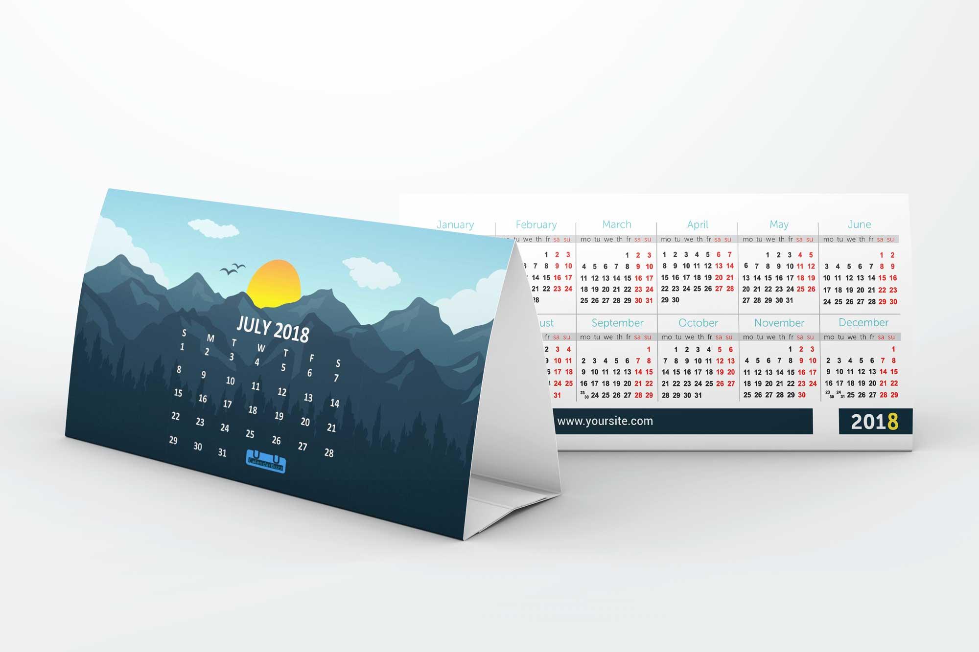 2 Side Desk Calendar Free Mockups