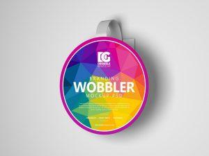 Free Wobbler Hanging on Wall Mockup