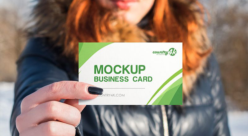 Free Business Card in Hand Mock-ups
