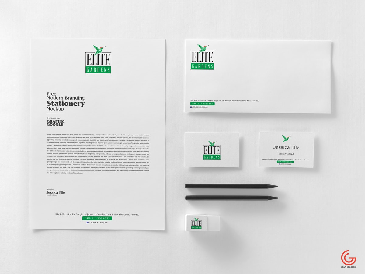 Free Business Stationery Mock-ups Scene