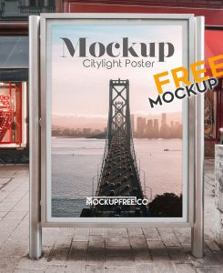 Free City Light Poster Mockup