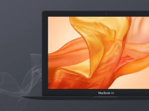 Free Dark Apple MacBook Air Mockup