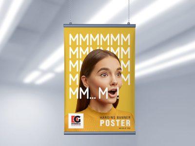 Free Hanging Banner Poster Mockup
