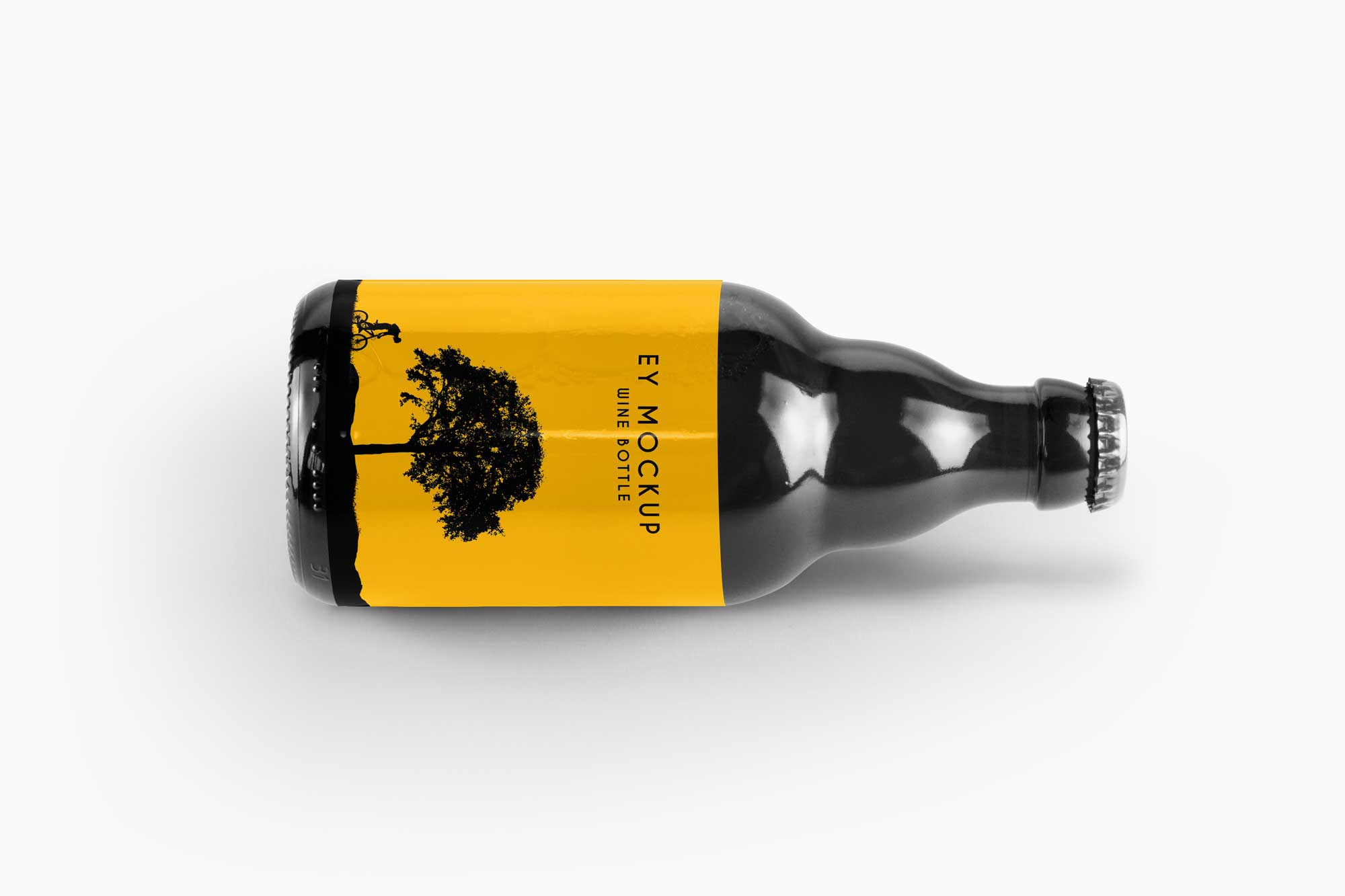 Free Laydown Beer Bottle Mockup