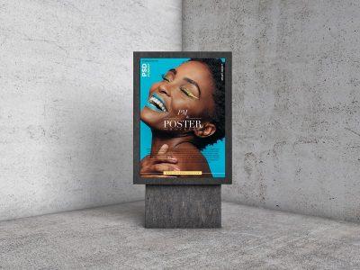 Free Modern Concrete Interior Poster Mockup
